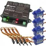 DIGIKEIJS DR4024BOX Komplett-Set Servodecoder, 4 Servo-Stellmotoren, 4 Kabel, für Weichen oder Funktionen
