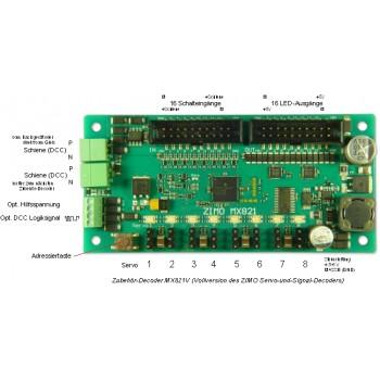 Zimo MX821V 8-fach Schaltdecoder für Weichen, Signale 16 Eingänge 16 Ausgänge 105x50x15mm 3A+1,6A